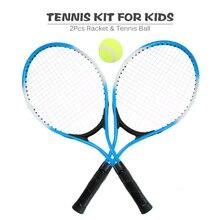 2 шт. Детские уличные спортивные теннисные ракетки теннисные струнные ракетки с 1 теннисным мячом и чехлом Железный сплав 3 цвета на выбор