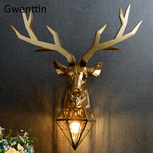 Retro Gold Antler Wall Lamp Vintage Deer Head Sconce Wall Lights for Home Deco Bedroom Living Room Reading Led Indoor Wall Lamps