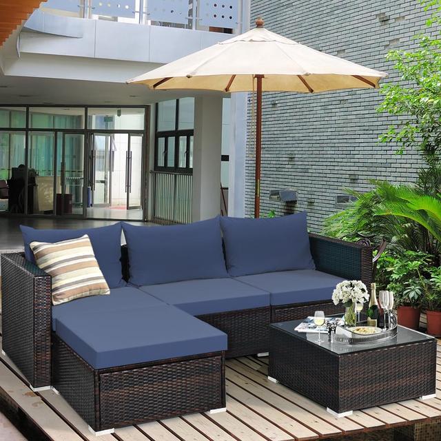 5PCS Patio Rattan Furniture Set Sectional Conversation Sofa w/ Coffee Table HW66521 3