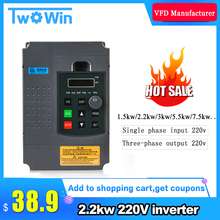 2.2KW 220V VFD Inverter 3KW 4KW 5.5KW 7.5KW Frequency Inverter Converter 1P input 3P Output 220V For CNC Spindle motor