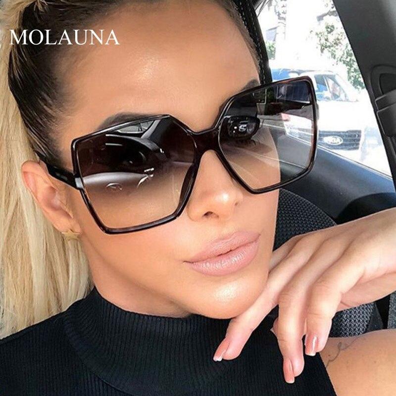 ヴィンテージオーバーサイズスクエアサングラス女性の高級ブランドビッグフレーム女性サングラスブラックファッション勾配女性メガネ Oculos