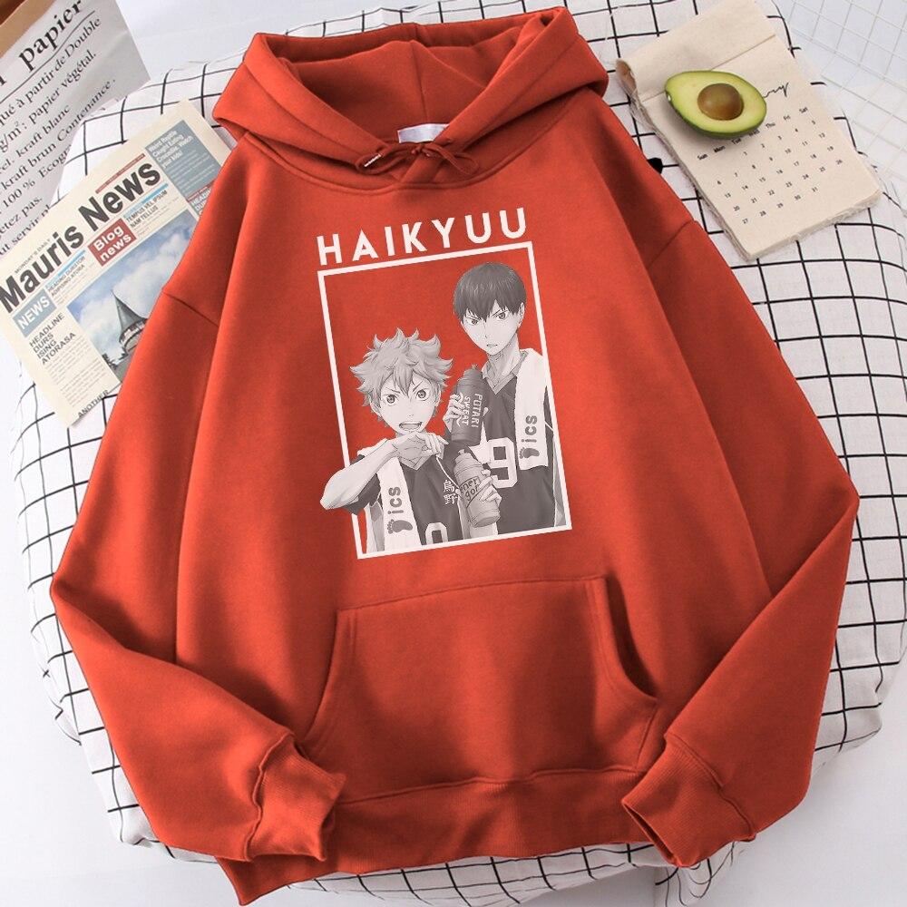 Hinata And Kageyama Haikyuu Streetwear Mens Casual Funny Hip Hop Hooded Japan Anime Hoodies Fly High Graphic Men Sweatshirts