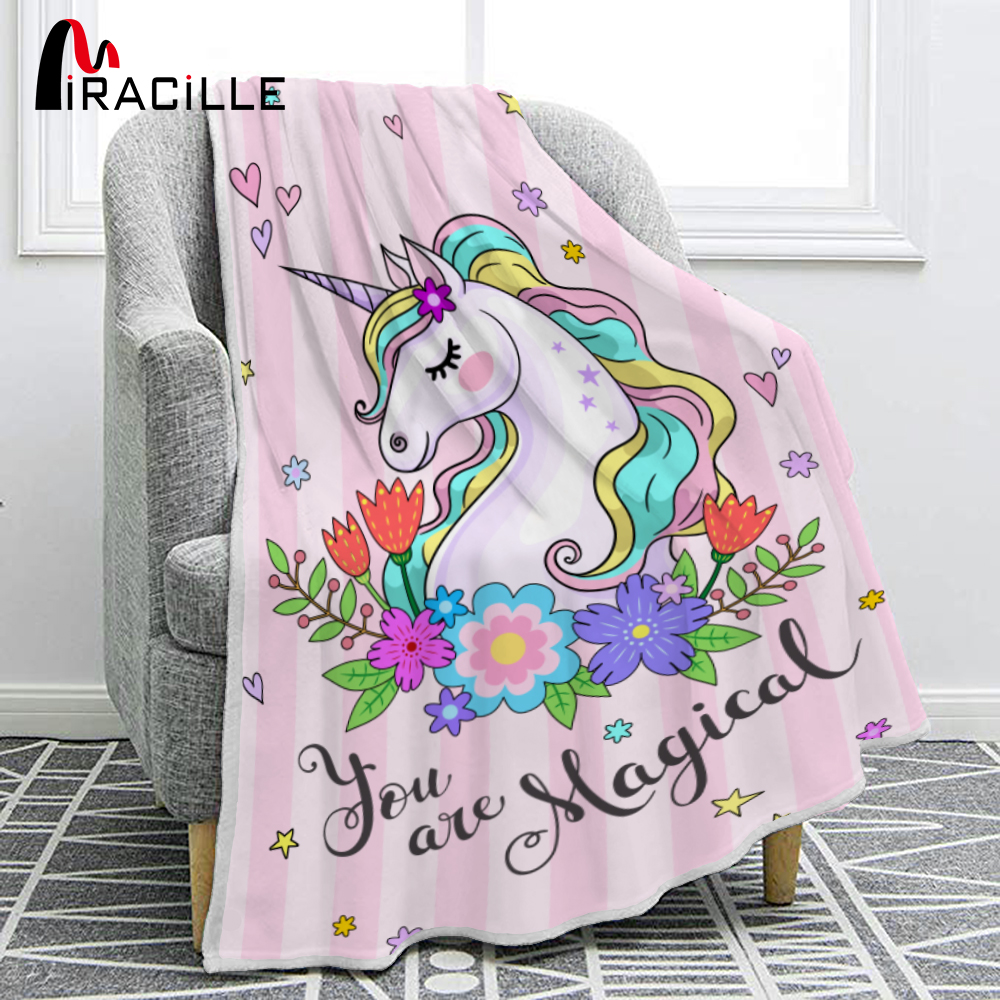 Miracille Colorful Unicorn Cartoon Print Flannel Cute Girl Sofa Napping TV Blanket Bedroom Decoration