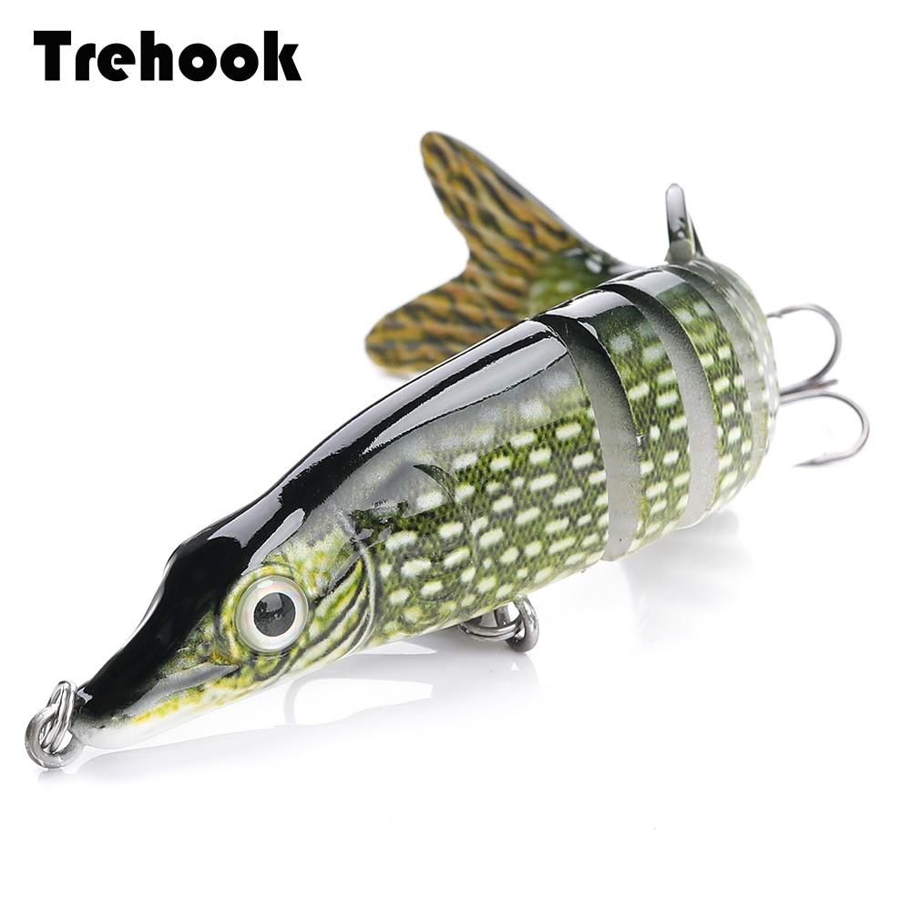 Trehook 10cm/12.5cm pike wobblers para a pesca isca artificial duro multi articulado swimbait crankbait lifelike isca de pesca equipamento