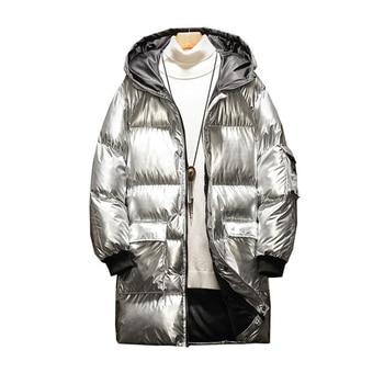 Rlyaeiz 2019 Fashion Casual Mens Winter Jacket Cotton Padded Bright Color Hooded Coat Thickening Warm Parka casaco masculino