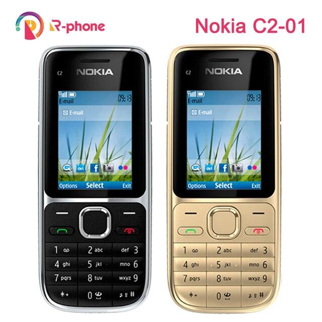 Original nokia c2 C2 01 desbloqueado gsm celular remodelado celulares & árabe russo teclado hebraico
