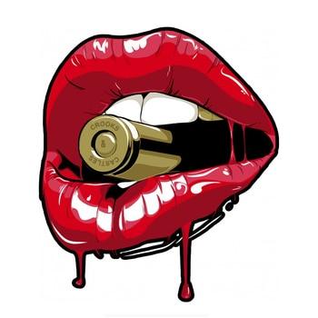 Dawasaru Red Lips Bullet Car Sticker Waterproof Personality Decal Truck Motorcycle Auto Decoration Accessories PVC,16cm*14cm dawasaru fashion car stickers racing greyhounds car window sticker animal decal for motorcycle auto truck laptop pvc 16cm 5cm