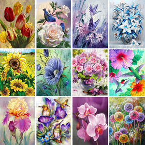 FULL Mosaic Pattern 5D DIY Diamond art Embroidery home decoration Flower diamond painting cross stitch New Year gift(China)