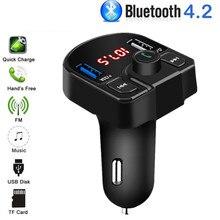 Bluetooth FM Transmisor USB Aux modulador Kit manos libres coche reproductor de Audio MP3 3.1A carga rápida cargador de coche Dual USB adaptador