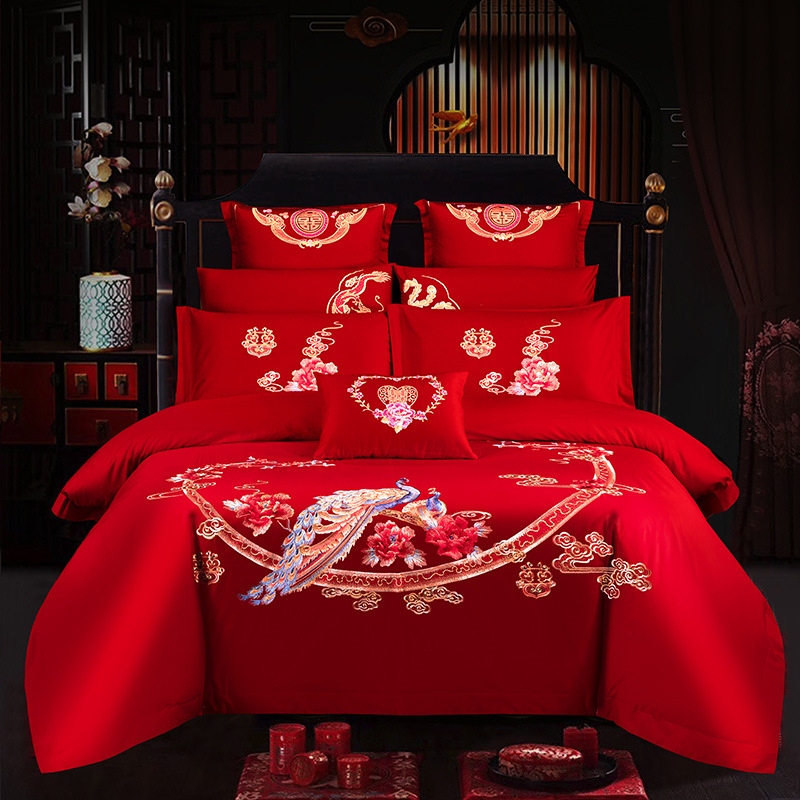 4/7/10 pcs Wedding Cheap Bedding Set Peacock embroidery Bedding Red Bed Set Bed cover Long-staple cotton Jubilation Duvet Cover(China)
