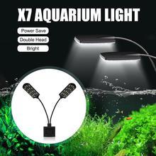 Senzeal X7 Two Heads Aquarium LED Light Clip-on Water Grass Lamp 220V/110V 15W 1600LM Fish Tank Led EU US