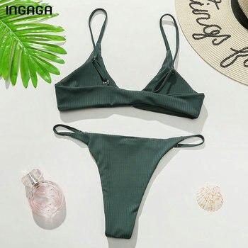 INGAGA Ribbed Bikinis Women's Swimsuits Sexy Ring Swimwear Women Push Up Biquini Micro Thong Bathing Suits Brazilian Bikini Set 6