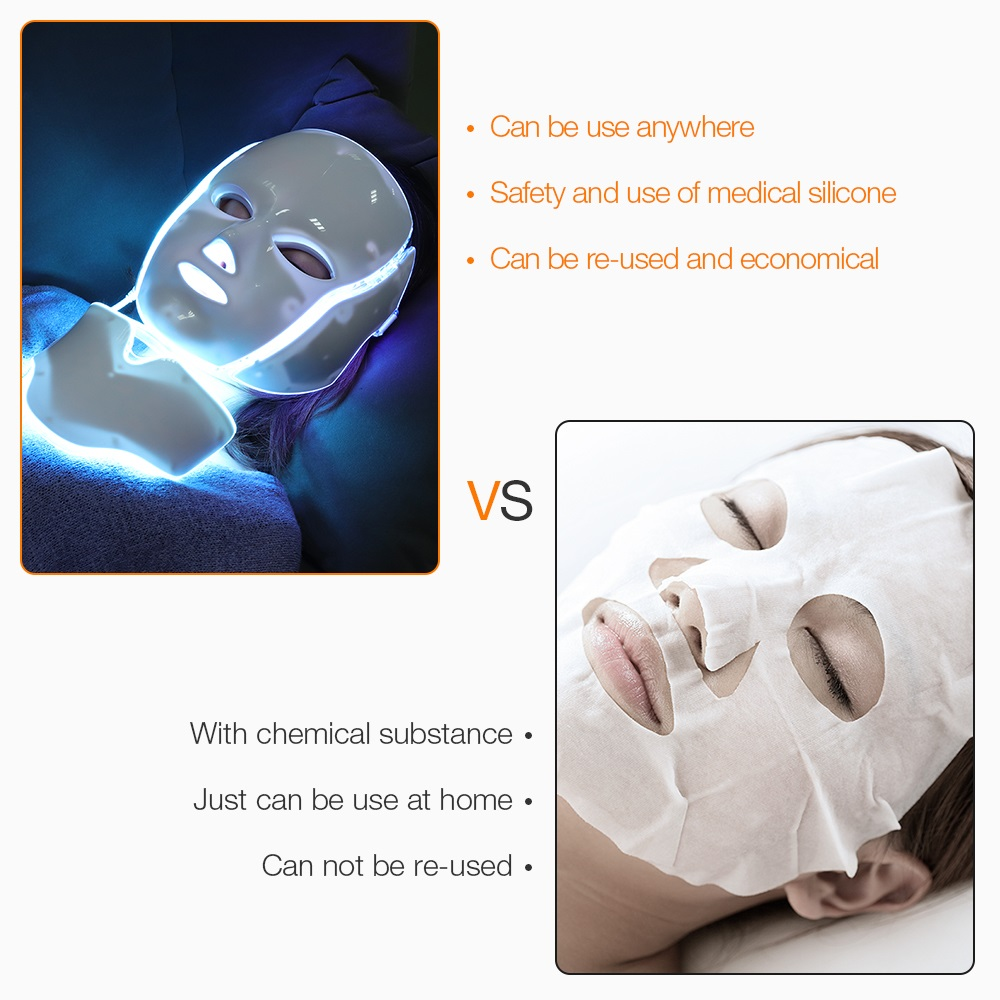 Image 4 - 7 Colors Light LED Facial Mask With Neck Skin Rejuvenation Face Care Treatment Beauty Anti Acne Therapy Whitening Instrument-in Face Skin Care Tools from Beauty & Health