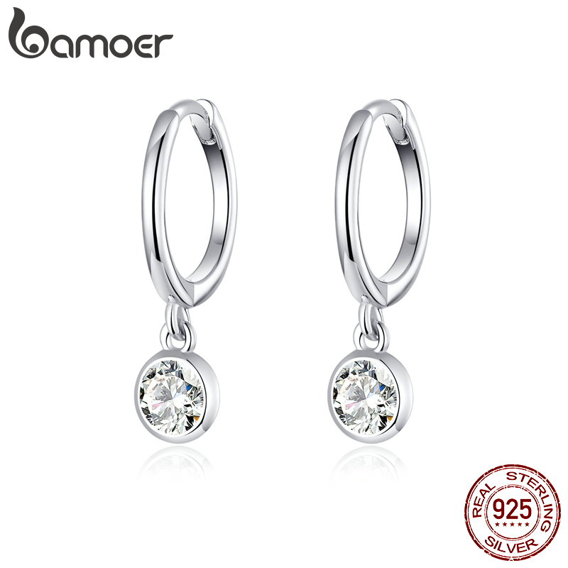 Bamoer 925 Sterling Silver Clear CZ Waterdrop Dangle Earrings For Women Wedding Engagement Statement Luxury Jewelry SCE830