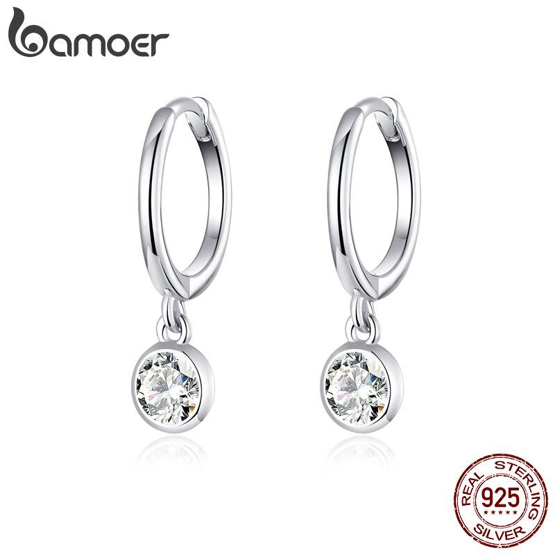 bamoer 925 Sterling Silver Clear CZ Waterdrop Hoop Earrings for Women Wedding Engagement Statement Luxury Jewelry SCE830(China)