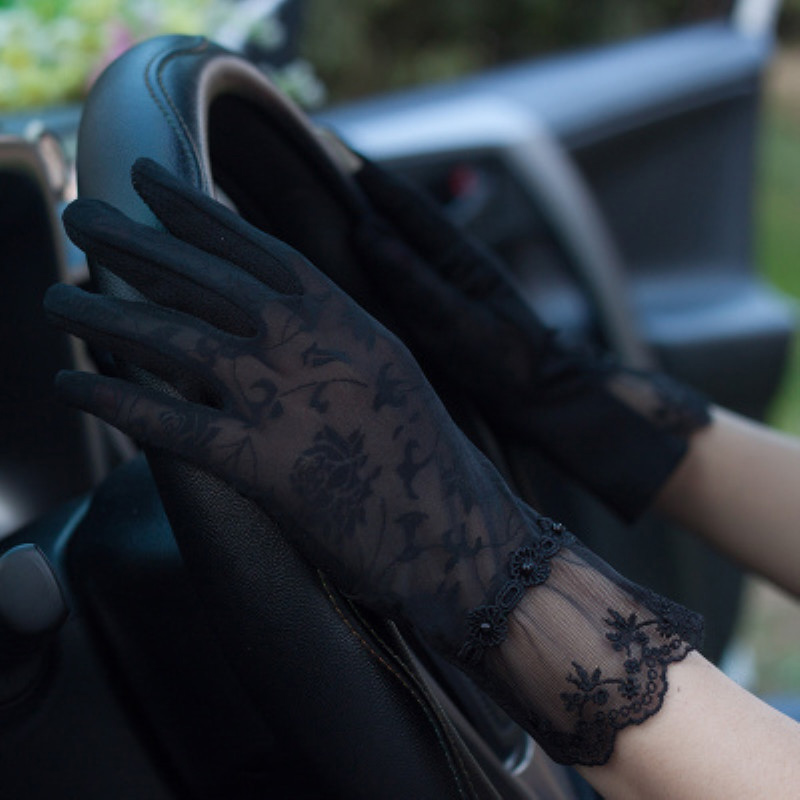 Lady Lace Sunscreen Gloves Summer Spring Women Stretch Touch Screen Anti Uv Slip Resistant Driving Glove Breathable Guantes 24cm