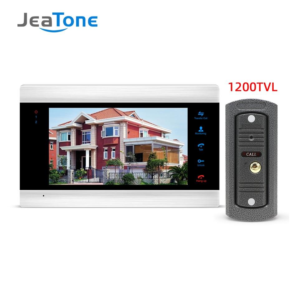 Jeatone cable de vídeo Puerta de teléfono intercomunicador para casa de 7 pulgadas HD Monitor 1200TVL timbre Cámara cámara de soporte CCTV de detección de movimiento