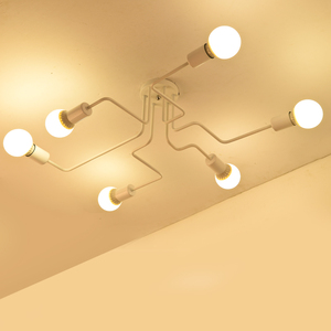 Image 4 - Modern LED Ceiling Chandelier Multiple Rod Wrought Iron Loft E27 Nordic Ceiling Chandeliers For Living Room Bedroom Light lustre