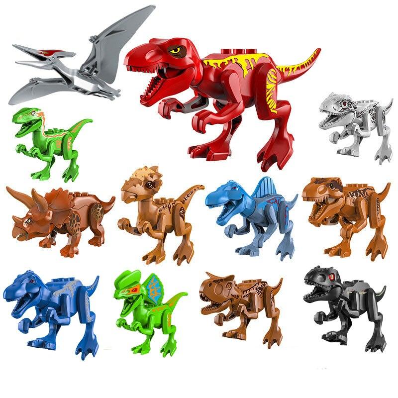 Nova montar blocos de construção jurássico parque dinossauro mundo pterosaurs triceratops modelos brinquedos para crianças tijolos presente aniversário