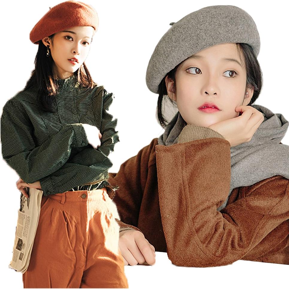 Французская шляпа берет для женщин осень зима простая шапка шерсть теплая уличная шоппинг стильные береты женские шапочки шапки