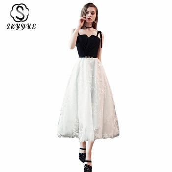 Prom Dresses Skyyue ER257 Black White Pactwork Tea Length Prom Dress Elegant Strapless Spaghetti Strap Women Party Vestidos