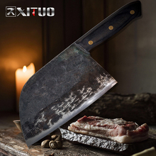 XITUO Full Tang Chinese Cleaver Handmade Kitchen Knives Hard Clad Steel Forged Meat Vegetables Slicing Chopping Tool Sharp hard