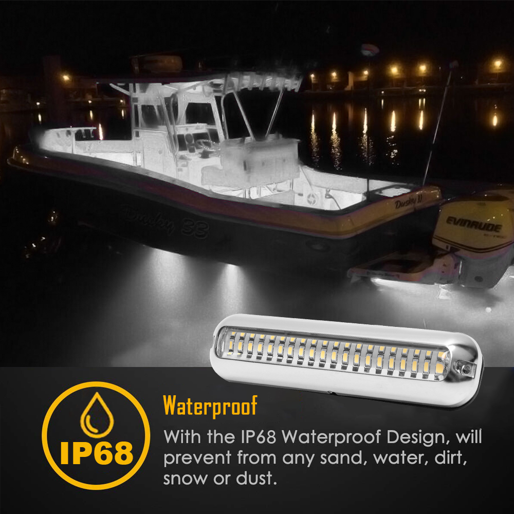 2 White 60LED Stainless Steel Boat Transom Light Underwater Pontoon Marine Ship Boat Accessories Light Waterproof Marine Light