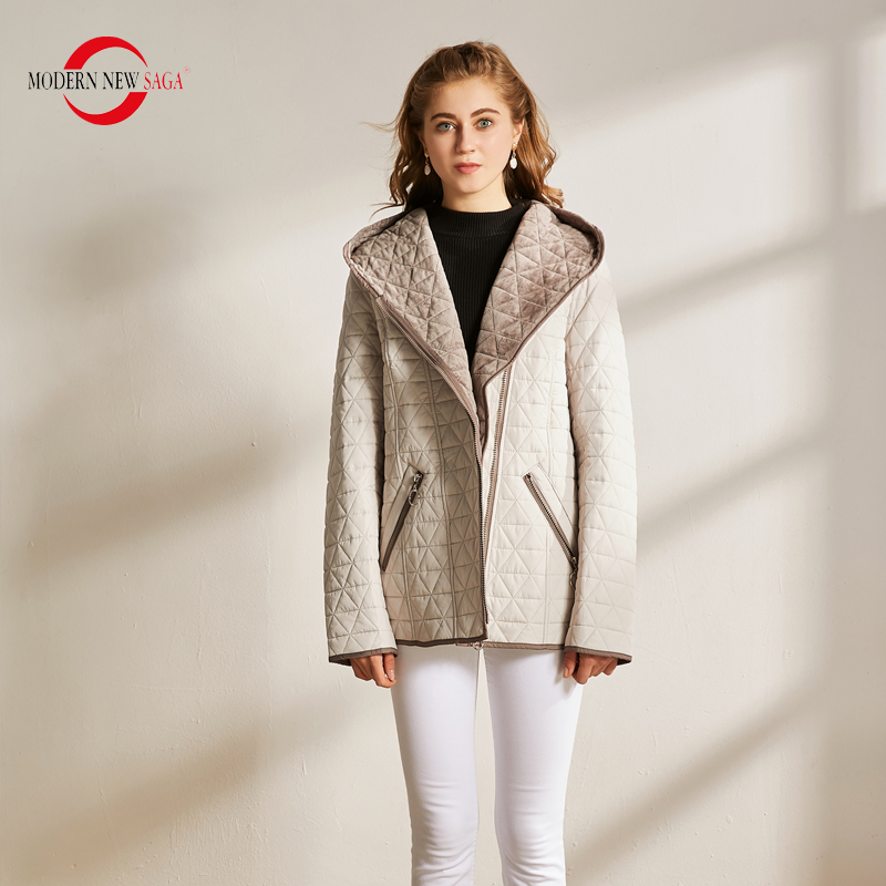 MODERN NEW SAGA Autumn Women Jacket Warm Cotton Padded Jacket Hooded Zipper Parkas Female Coats Spring Casual Jacket Plus Size