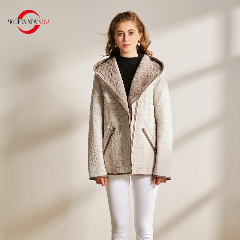MODERN NEW SAGA Autumn Women Jacket Warm Cotton Padded Jacket Hooded Zipper Parkas Female Coats Winter Casual Jacket Plus Size
