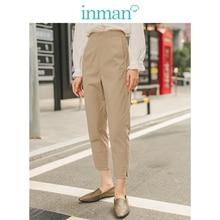 INMAN Spring Autumn Minimalism Medium Waist Split Slim Slit Khaki Women Casual Pants