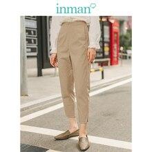 INMAN primavera otoño minimalismo cintura media Split Slim Slit caqui mujeres pantalones Casuales