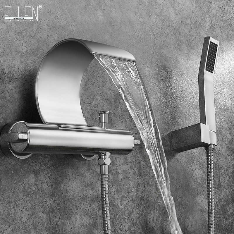 wall mounted bathtub faucet with hand shower hot cold water mixer tap waterfall spout chrome elk075