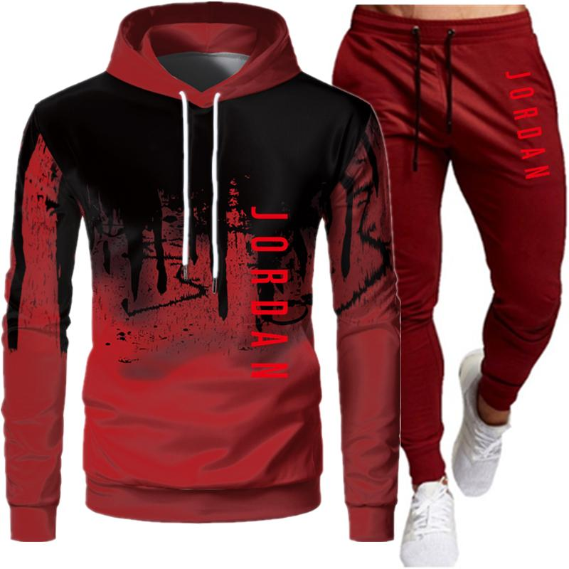 Ανδρικό hoodie κοστούμι μόδα επιστολή εκτύπωσης φθινόπωρο μάρκα casual αθλητικό κοστούμι ανδρικό κοστούμι αθλητικό κομμάτι hoodie msow
