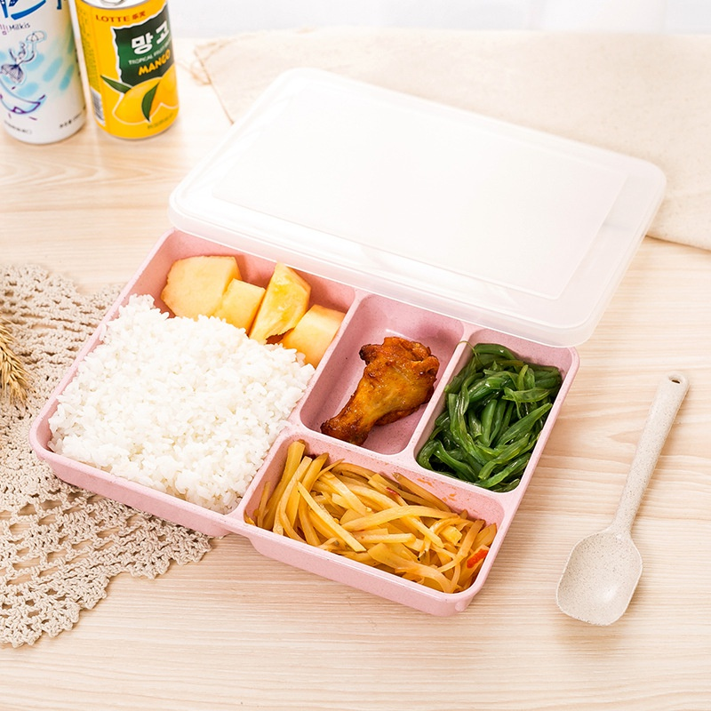 4Grids  Wheat Straw Compartment Sealed Lunch Box Portable Bento Box With Spoon For Microwave Heating Food Storage Container Lunch Boxes     - title=