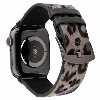 For 38mm 40mm 42mm 44mm Apple Watch Band Series 6 SE 5 4 3 2 1 iwatch Strap Leopard Wristwatch Bracelet Genuine Leather Belt.