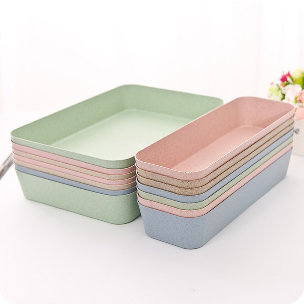 1pc Wheat Fiber Kitchen Drawer Storage Tray Divider Storage Organizer Storage Drawer Degradable 26.4*8.8*4.3CM