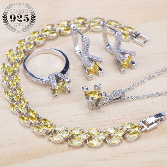 925 Sterling Silver Giallo Zirconia Set di Gioielli Da Sposa Delle Donne di Pietra Pinze Orecchini Bracciali Collana Anello Set Regali Contenitore di Monili