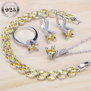Image 1 - 925 Sterling Silver Yellow Zirconia Bridal Jewelry Sets Women Stone Clips Earrings Bracelets Necklace Ring Set Gifts Jewelry Box