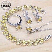 925 スターリングシルバー黄色クジルコニアブライダルジュエリーセット女性石のクリップイヤリングブレスレットネックレスリングセットギフトジュエリーボックス