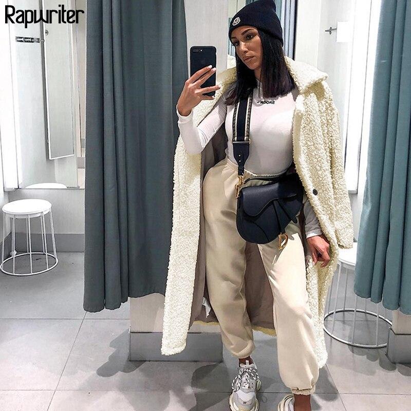 Rapwriter Notched Long Fur Coats For Women Faux Fur Teddy Fleece Coat Women 2019 Streetwear Keep Warm Winter Hairy Long Coat