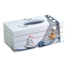 Caja de papel de la serie marina del estilo mediterráneo cubierta de la caja de toalla de papel decoración del hogar caja de papel higiénico de madera