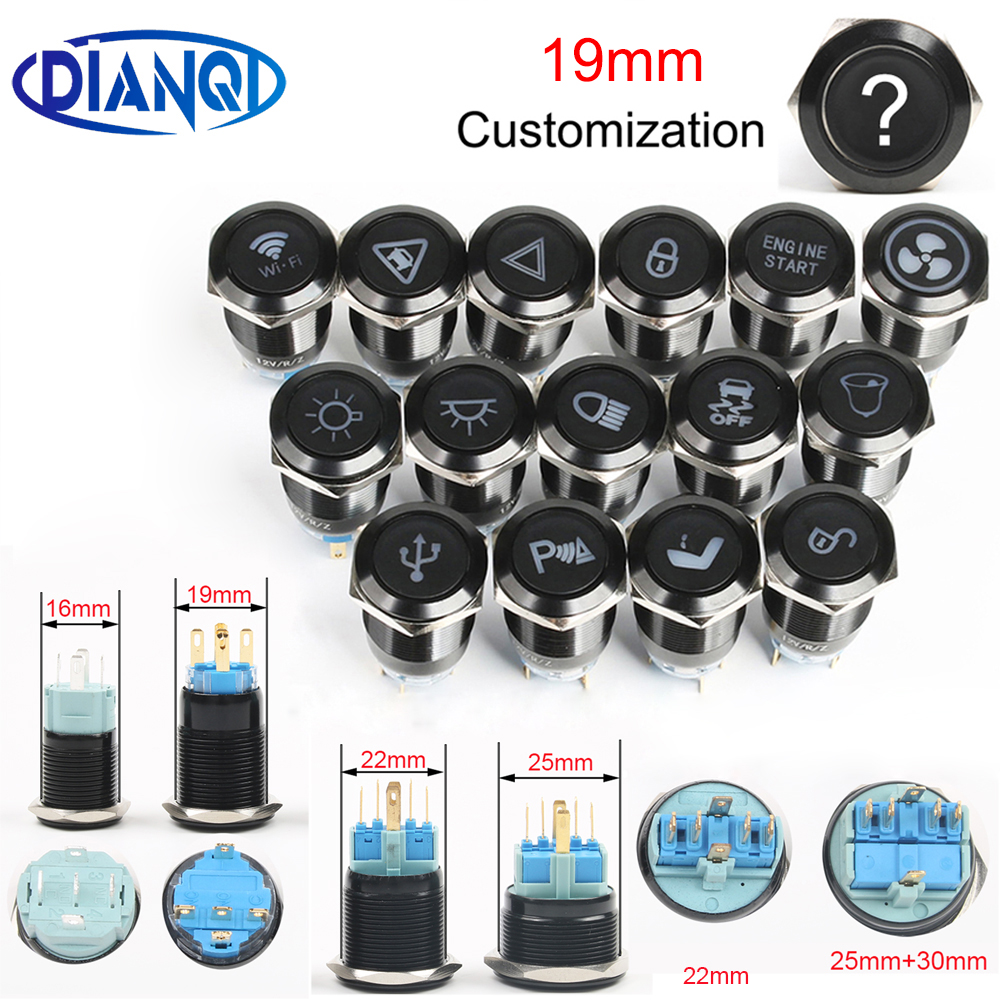 Customizable 19mm Alumina Momenary/Latching For Car Speaker Horn Buttonswitch Metal Led Logo Symbols Light Fixed Button Switch