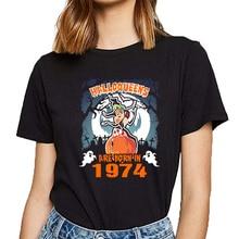 Tops T Shirt Women halloqueens are born in 1974 Design Black Short Female Tshirt