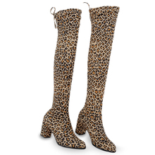 LAKESHI Sexy Thigh High Boots Over-the-knee Women Long Female Winter Shoes Leopard Suede Heels