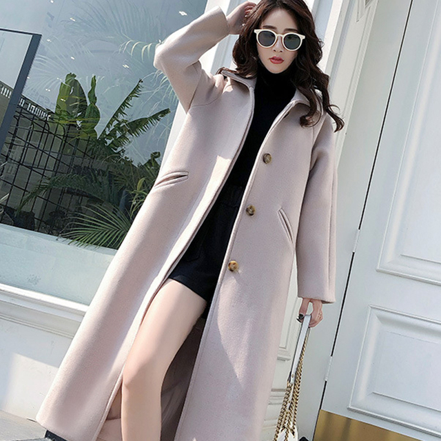 Ailegogo New Autumn Women Korean OL Style Long Coat Casual Turn Down Collar Single Breasted Loose Fit Female Outwear