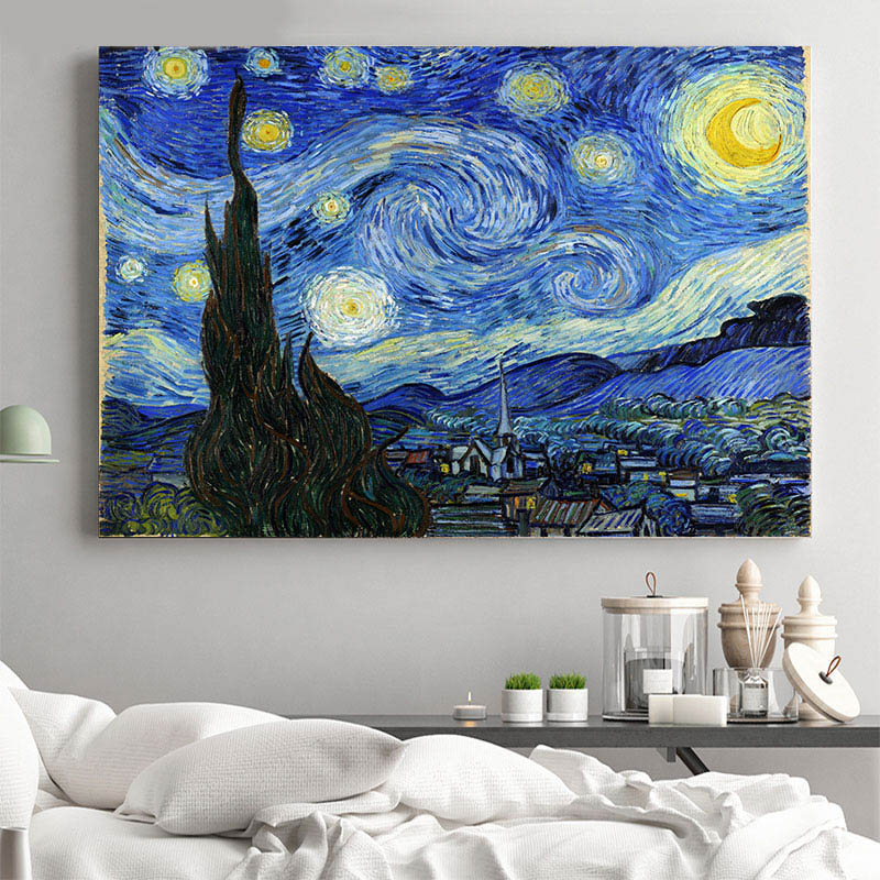 Poster A3 Noche Estrellada Starry Night Vincent Van Gogh Cuadro Arte Clasico