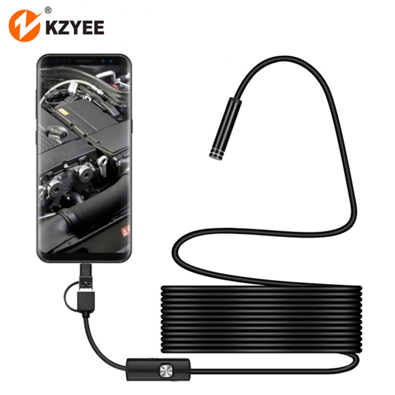 TYPE-C USB Mini Endoscope Camera 3in17mm 2m 1m 1.5m IP67 Waterproof 6LED Borescope Inspection Camera for Android Smartphone PC