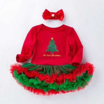 Baby Girl Dress Set My First Christmas Tutu Princess Dresses Newborn Infant Toddler Girls Outfits 2pcs Clothes Sets Romper Gift brilliant sequins burgundy lace petti romper dress headband newborn tutu sets baby girl summer clothes toddler girl clothing