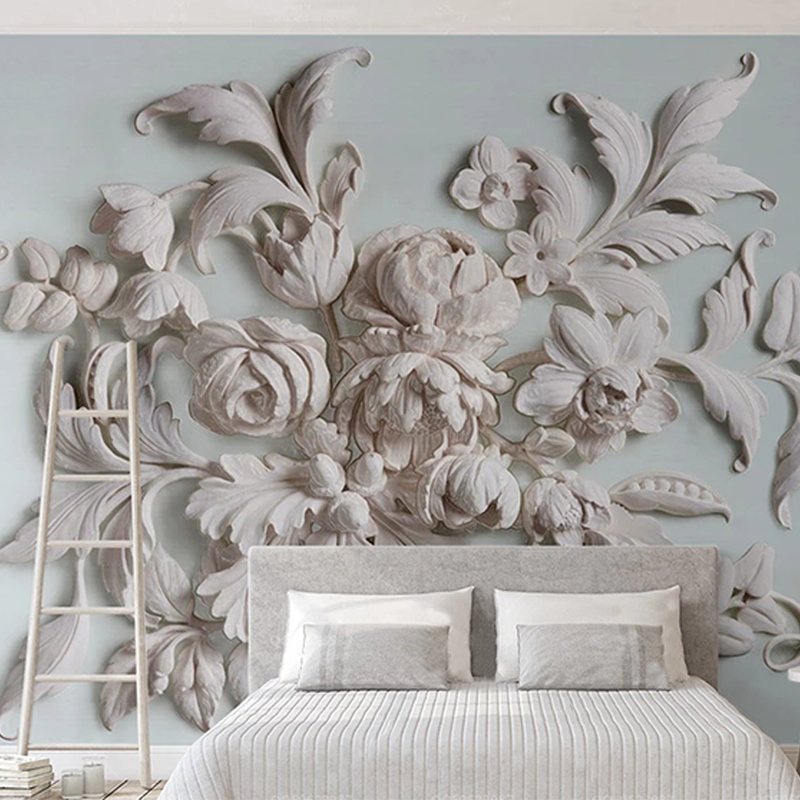 Custom Photo Wall Paper European Style 3D Embossed White Flower Art Mural Wall Painting For Living Room Bedroom Wall Home Decor