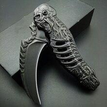 2020 Stonewash Skull Folding Blade Tactical Knife Death Engrave Tactical Camping Hunting Ka